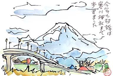 毎年初詣の帰り道に神川橋から眺める富士山です。